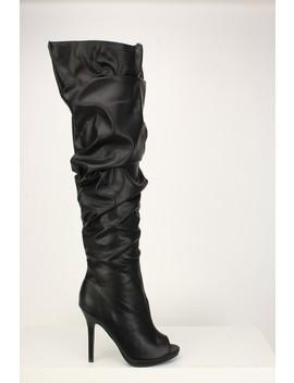 Black Slouchy Thigh High Boots by Ami Clubwear