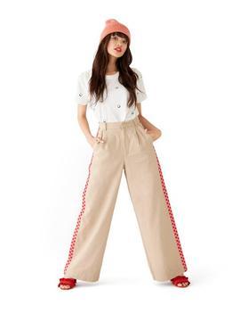 Checkered Wide Leg Cargo Pants by Ban.Do
