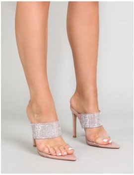 Galileo Perspex And Diamante Mules In Nude by Public Desire