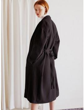 Blanket Long Coat Black by Ruhm