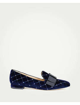 Dominique Velvet Bow Loafers by Ann Taylor