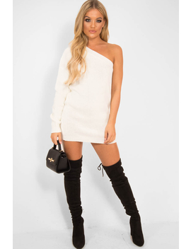 Cream One Shoulder Jumper Dress   Liseth by Rebellious Fashion