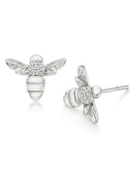 Silver Cubic Zirconia Bumble Bee Stud Earrings by Beaverbrooks