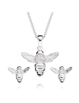 Silver Cubic Zirconia Bee Pendant And Earrings Set by Beaverbrooks