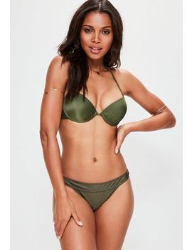 Khaki Underwired Push Up Bikini Top   Mix & Match by Missguided