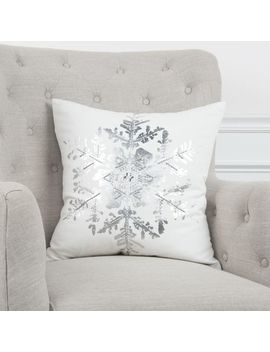 "Silver Metallic Snowflake 20"" Pillow by Pier1 Imports"
