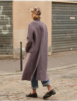 Manteau à Carreaux En Drap De Laine by Sandro Paris