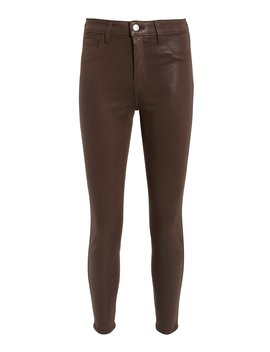 Margot Cocoa Coated High Rise Ankle Skinny Jeans by L'agence
