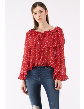 Passionate Peaches Chiffon Dolly Top In Red by Chicwish