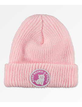 Ripndip Stop Being A Pussy Pink Beanie by Ripndip
