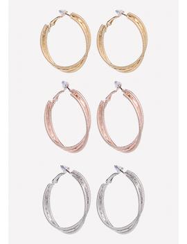 Multi Hue Hoop Earring Set by Bebe