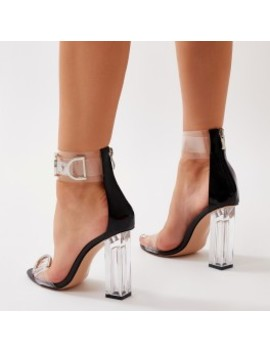 Tonic Buckled Clear Perspex Heels In Black by Public Desire