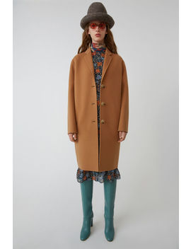 Masculine Tailored Long Coat Camel Brown by Acne Studios