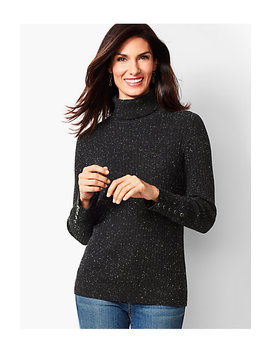 Button Cuff Ribbed Turtleneck Sweater   Donegal by Talbots