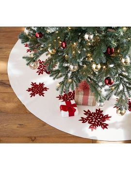 Personalized Embroidered Snowflake Tree Skirt by Pottery Barn