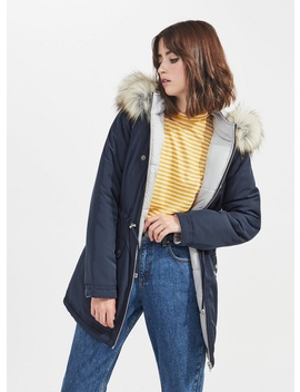 Grey Reversible Parka Puffer Coat by Miss Selfridge