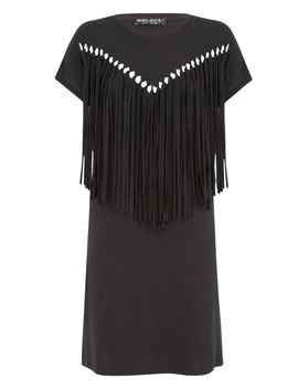 Fringe Front Bodycon Dress by Select