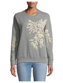Floral Embroidered Pullover Sweatshirt by Free Generation