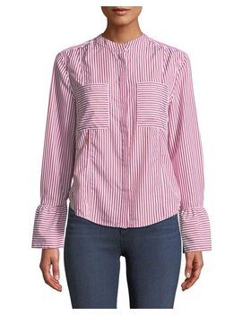 Striped Bell Cuff Button Front Blouse by Velvet Heart