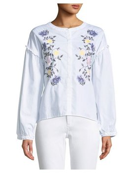 Spring Danni Embroidered Button Front Blouse by Sanctuary