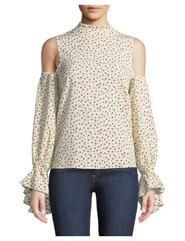 Cold Shoulder Ruffle Trim Blouse by Bishop + Young