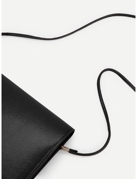 Ring Detail Flap Pu Clutch by Sheinside