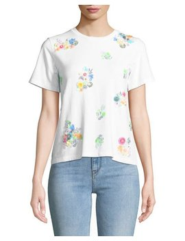 Short Sleeve Sequin Flower Tee by Catherine Catherine Malandrino