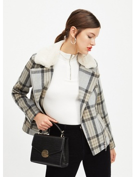 Grey Check Biker Jacket by Miss Selfridge