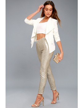 Encore Silver And Light Gold Sequin Leggings by Lulus
