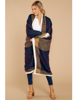 All About Comfort Navy And Red Sherpa Throw Blanket by Contempo Accessories