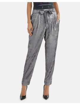 Nives Tie Waist Metallic Pants by Brochu Walker
