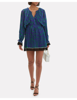 Crescent Printed Cape Blue Mini Dress by Self Portrait
