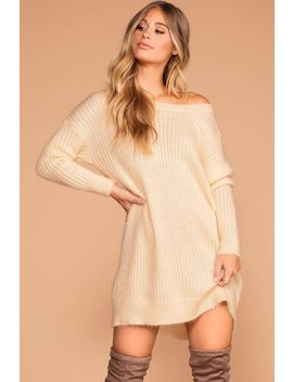 Cold Outside Ivory Knit Sweater Dress by Priceless