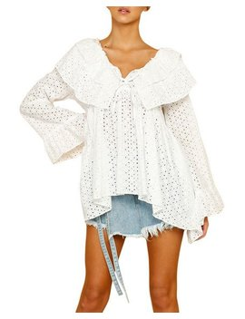 Sandy Pointelle Ruffle Top by Style Keepers