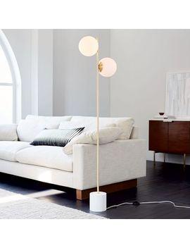 Sphere + Stem Floor Lamp, Brass/Milk Glass, 2 Light by West Elm