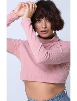 Moeena High Neck Top In Knit Crinkle Rib Pink By Motel by Motel