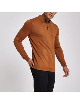 Brown Cable Slim Fit Long Sleeve Polo Shirt by River Island