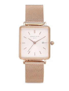 The Boxy White Sunray Mesh Rose Gold Watch by Rosefield
