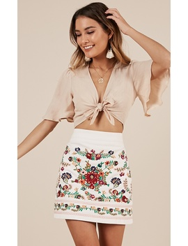 Sky Fall Skirt In White Embroidery by Showpo Fashion