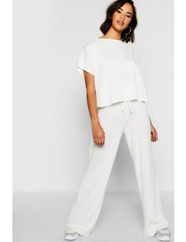 Rib Oversized T Shirt + Wide Leg Co Ord Rib Oversized T Shirt + Wide Leg Co Ord by Boohoo