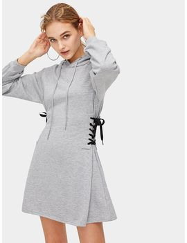 Lace Up Waist Drawstring Hooded Sweatshirt Dress by Romwe