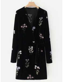 Embroidered Flower Self Tie Velvet Dress by Romwe