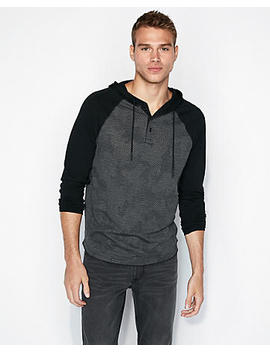 Perforated Camo Raglan Hoodie by Express