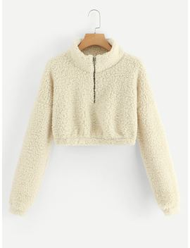 Quarter Zip Crop Teddy Jacket by Romwe