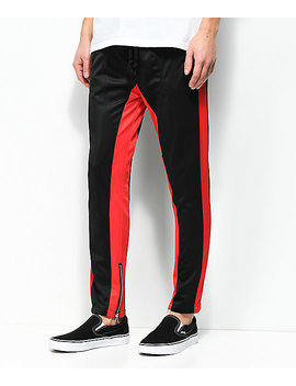 American Stitch Black & Red Tricot Track Pants by American Stitch