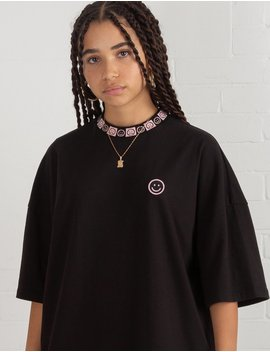 Lazy Oaf Happy Sad Oversized T Shirt Dress by Lazy Oaf