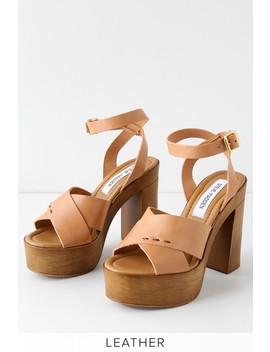 Liliana Tan Leather Platform Ankle Strap Heels by Steve Madden