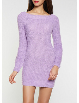 Feathered Knit Off The Shoulder Sweater Dress by Rainbow