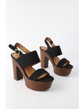 Zorana Black Nubuck Platform Sandals by Lulu's