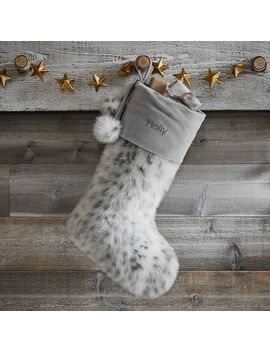 Gray Leopard Faux Fur Stocking by P Bteen